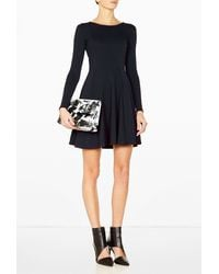 Ganni Everlasting Long Sleeve Simple Black Dress - Lyst