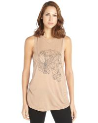 Haute Hippie Clay Stretch Skull Graphic Sleeveless Top - Lyst