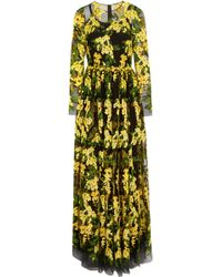 Dolce & Gabbana Embroidered Tulle Gown - Lyst