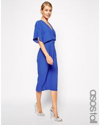 Asos Tall Midi Dress With Obi Belt - Lyst