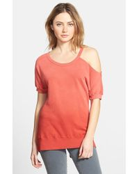 Pam & Gela Faded Open Shoulder Short Sleeve Sweatshirt - Lyst
