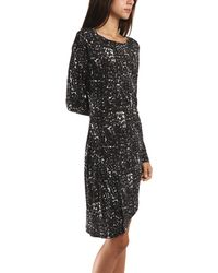 Thakoon Addition Gathered Side Dress In Dot Print black - Lyst