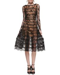 Oscar de la Renta Long-Sleeve Lace Overlay Midi Dress - Lyst