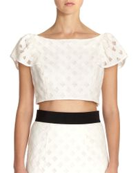 Milly Lattice-embroidered Mesh Crop Top - Lyst