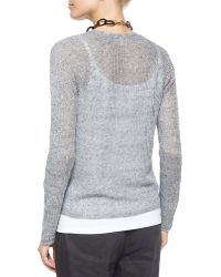 Eileen Fisher Rustic Speckled Button-Front Cardigan gray - Lyst