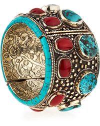 Devon Leigh - Turquoise & Coral Cuff Bracelet - Lyst