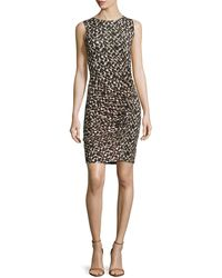 Halston Heritage Sleeveless Printed Jersey Dress - Lyst
