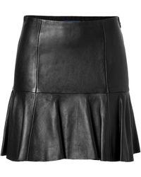 Ralph Lauren Blue Label - Bonded Leather Gailes Skirt in Black - Lyst
