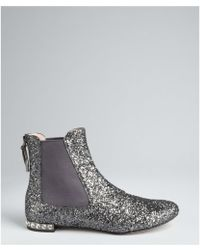 Miu Miu | Blue Glitter Leather And Jewel Ankle Boots | Lyst