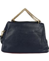 Halston Thick Double Chain Pebble Satchel - Lyst