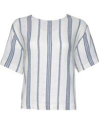 Sea Short-Sleeve Striped Linen Tee white - Lyst