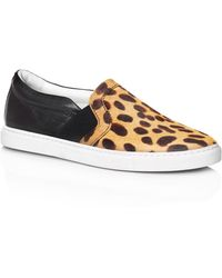 Lanvin | Leather and Pony Hair Slip-On Sneakers | Lyst