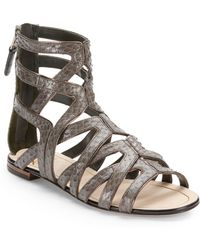 B Brian Atwood Alcarra Snakeembossed Leather Sandals - Lyst