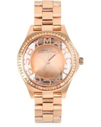 Marc By Marc Jacobs Henry Skeleton Glitz 34Mm Rose Gold Tone Stainless Steel Women'S Watch - Lyst