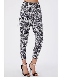 Missguided Nicolar Marble Print Tapered Leg Trousers White - Lyst