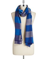 Vince Camuto Blue Checkered Scarf - Lyst