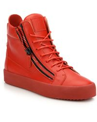 Giuseppe Zanotti Double Zip Leather High-Top Sneakers - Lyst