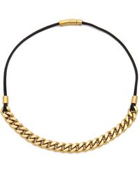 Michael Kors Long Leather Curb Chain Necklace Goldblack - Lyst