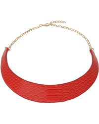 Topshop Orange Snake Effect Torque Necklace - Lyst
