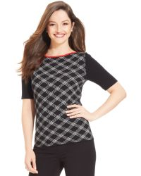 Jones New York Petite Patterned Shortsleeve Sweater - Lyst