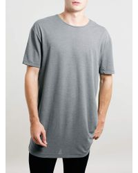 Topman Grey Long Length Tshirt - Lyst