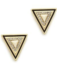 House Of Harlow Triangle Stud Earrings Goldivory - Lyst