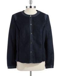 Jones New York Faux Shearling Cropped Jacket - Lyst