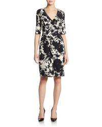 Saks Fifth Avenue Black Label Pleated Faux Wrap Dress - Lyst