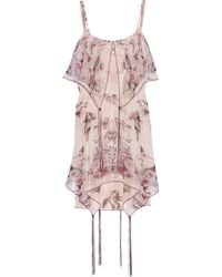 Anna Sui Printed Silkblend Chiffon Mini Dress - Lyst