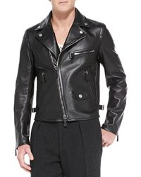 Burberry Prorsum Lambskin Leather Biker Jacket - Lyst