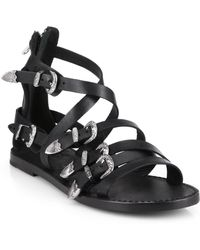 Ash Penelope Buckled Strappy Leather Sandals black - Lyst