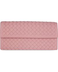 Bottega Veneta Intrecciato Leather Continental Wallet - For Women pink - Lyst