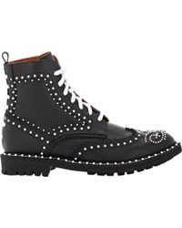Givenchy Embellished Commando Wingtip Boots - Lyst