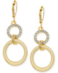 T Tahari Goldtone Crystal Pave Circle Drop Earrings - Lyst