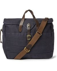 J.Crew - Abingdon Waxed Cotton-Canvas And Leather Laptop Bag - Lyst