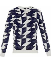 PS by Paul Smith Geometric-Intarsia Cotton Sweater - Lyst
