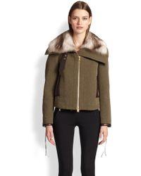 Emilio Pucci Fur-Collar Tweed & Leather Jacket - Lyst
