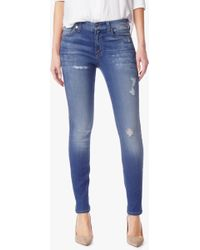 7 For All Mankind | The Skinny With Destroy In Bright Blue Bell | Lyst