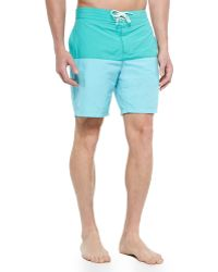 Lacoste Color-Blocked Swim Trunks - Lyst