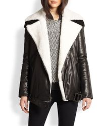 Timo Weiland Jayci Leather  Shearling Moto Jacket - Lyst