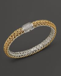 John Hardy Classic Chain 18k Gold and Sterling Silver Medium Reversible Bracelet with Pavé Diamonds - Lyst