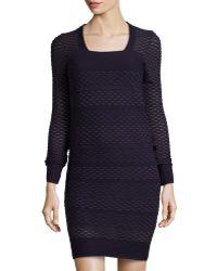 M Missoni Square-Neck Long-Sleeve Jacquard Dress - Lyst