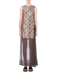 Dries Van Noten Domani Metallic-Jacquard And Chiffon Dress - For Women - Lyst