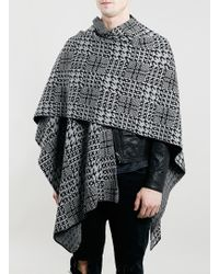 LAC - Bk And Grey Check Cape - Lyst