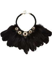 River Island Black Embellished Feather Necklace - Lyst