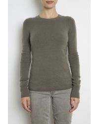 Inhabit Cashmere Stretch Pullover With Pointelle green - Lyst