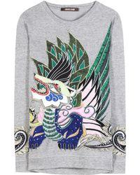 Roberto Cavalli Embellished Cotton Sweatshirt - Lyst