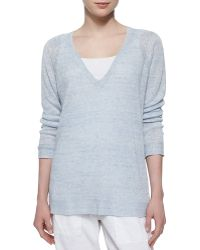 Eileen Fisher Long-Sleeve Speckled Linen Tunic blue - Lyst