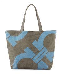 Ferragamo Mustique Canvas Beach Bag - Lyst
