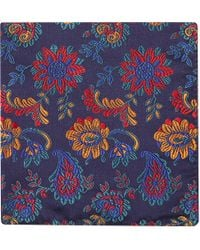 Duchamp Paisley Floral Pocket Square Navy - Lyst